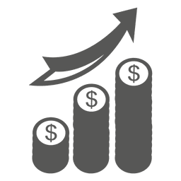Ícone de pilhas crescentes de moedas