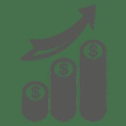 Icono de pilas de monedas en crecimiento