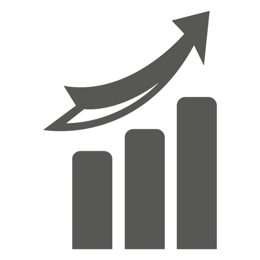 Growing graph with arrow going up Transparent PNG