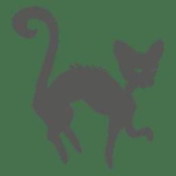 Silueta de gato bruja de halloween