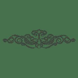 Divisor ornamentado linear de mão desenhada
