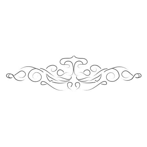 Hand drawn linear ornate divider Transparent PNG