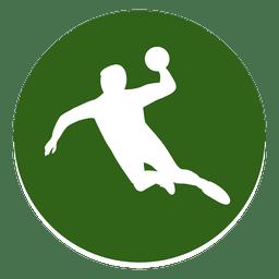Icono de círculo de jugador de balonmano