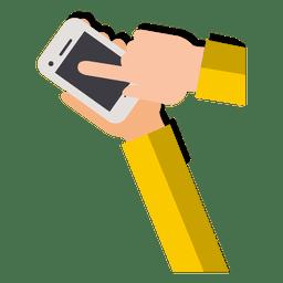Manos en el teléfono inteligente de dibujos animados