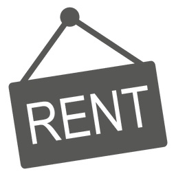 Hanging rent sign