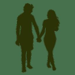Gehendes Schattenbild 5 des glücklichen Paars