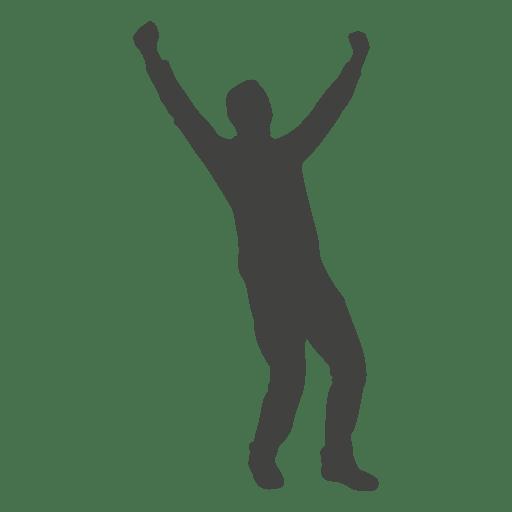 Happy man celebrating silhouette Transparent PNG