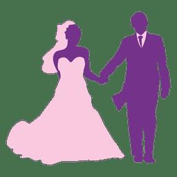 Happy wedding couple silhouette