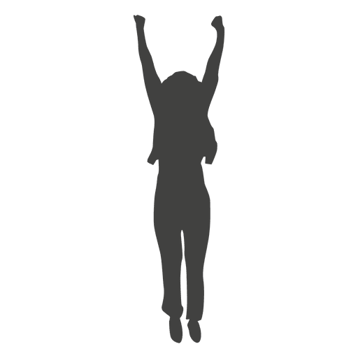 Happy woman celebrating silhouette Transparent PNG