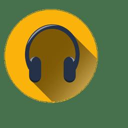 Icono de círculo de auriculares