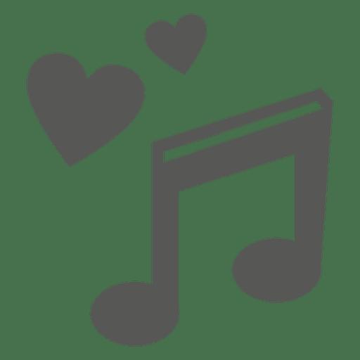 Icono de nota musical de corazones