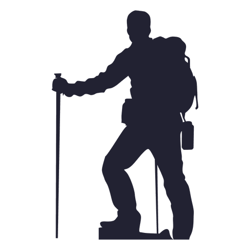 Hiking man silhouette png