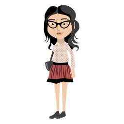 Hipster girl cartoon character