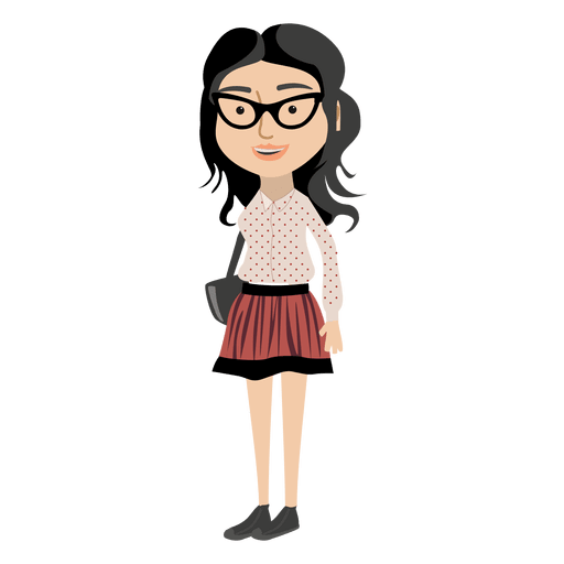 Hipster girl cartoon character png