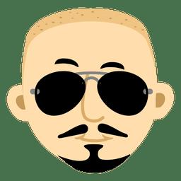 Hipster hombre cabeza de dibujos animados 1
