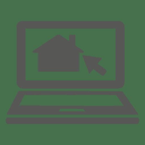 Icono de portátil de cursor de casa