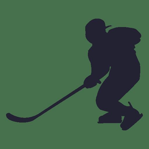 Silueta de jugador de Hokey de hielo con casco