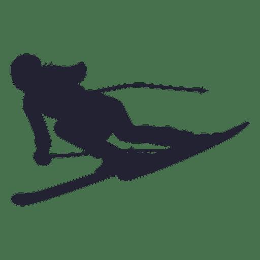 Silueta de jugador de esquí sobre hielo