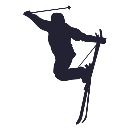 Ice skiing sport silhouette Transparent PNG