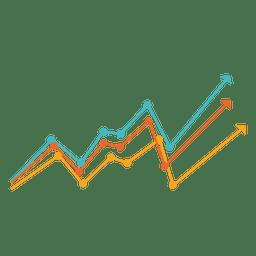 Gráfico de linhas multicoloridas crescente