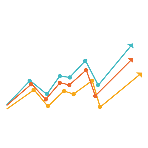 Increasing multicolor line chart - Transparent PNG & SVG vector