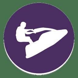 Icono de círculo de jet ski
