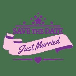 Just married wedding badge