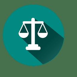 Ícone de círculo de escala de justiça