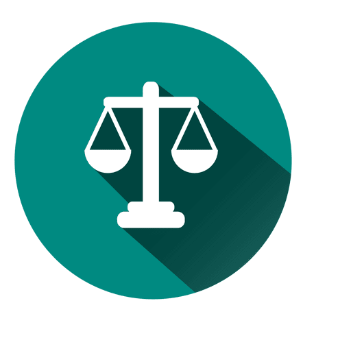 Justice scale circle icon