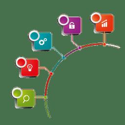 Infografía de varias etapas de cuadrados de icono etiquetado