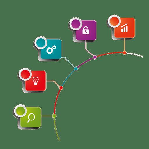 Infográfico de vários estágios de ícone rotulado Transparent PNG