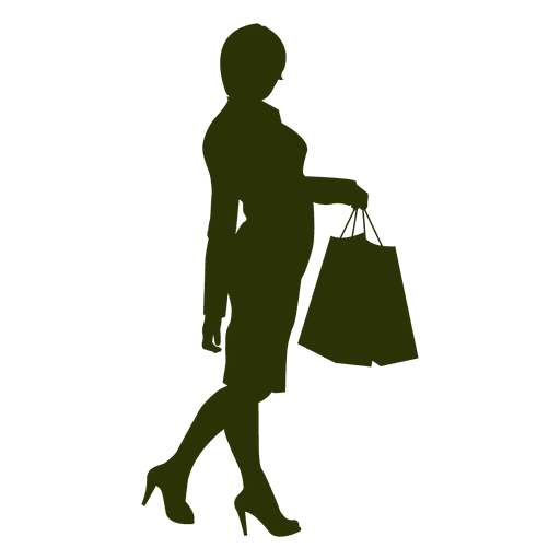 Ladies shopping silhouette Transparent PNG