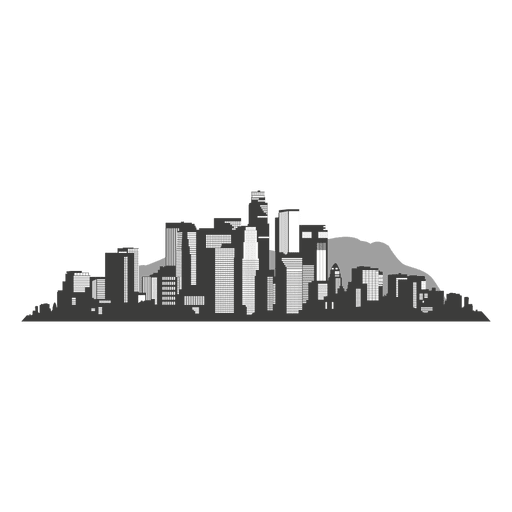 Los Angeles Skyline Silhouette Transparent PNG