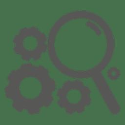 Icono de rueda dentada de lupa