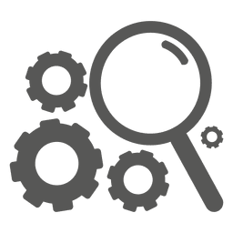 Magnifier cogwheel icon