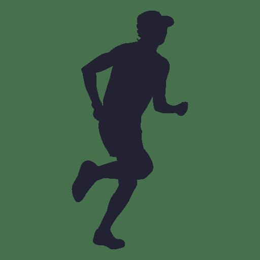 Hombre corriendo con silueta de sombrero