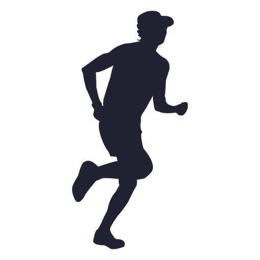 Man running with hat silhouette
