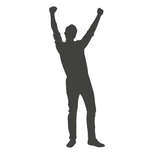 Man celebrating success silhouette Transparent PNG