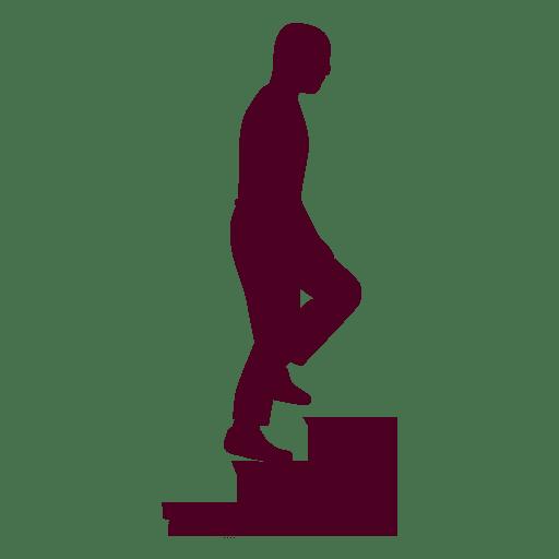 Hombre subiendo escaleras silueta