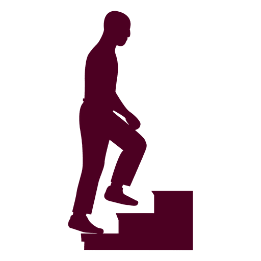 Guy Climbing Stairs Silhouette Sequence Transparent PNG