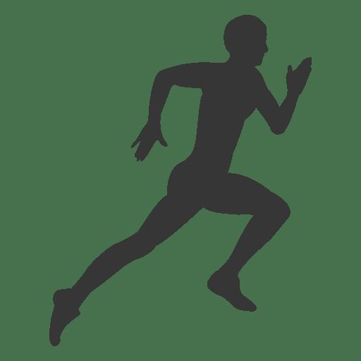 Man running hard silhouette