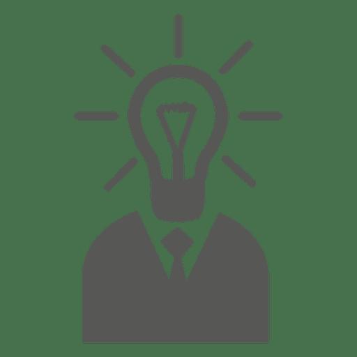 Man with idea bulb head