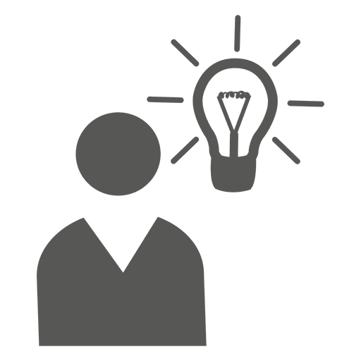 Man with idea bulb icon