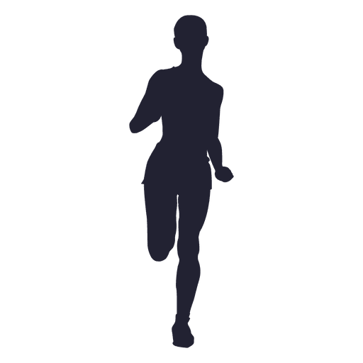 Marathon running woman silhouette