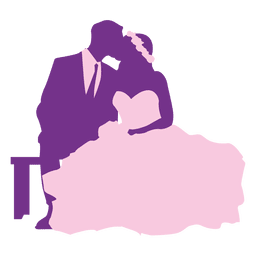 Married couple kissing silhouette