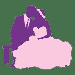 Par casado, beijando, silueta