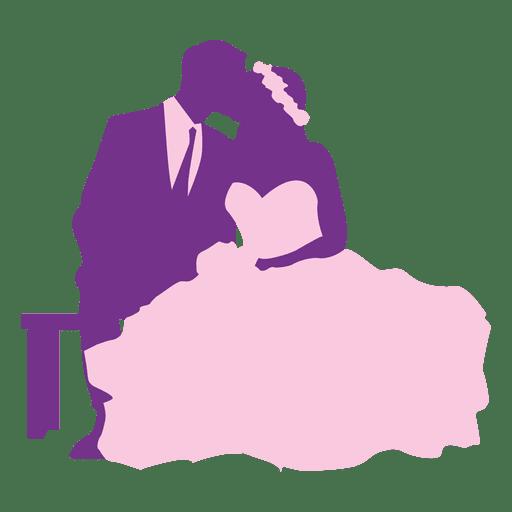 Pareja casada besándose silueta Transparent PNG