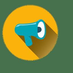 Megáfono círculo icono amarillo y azul.