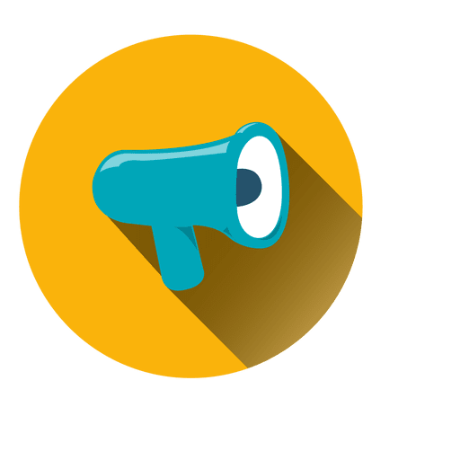 Megaphone circle icon yellow and blue png