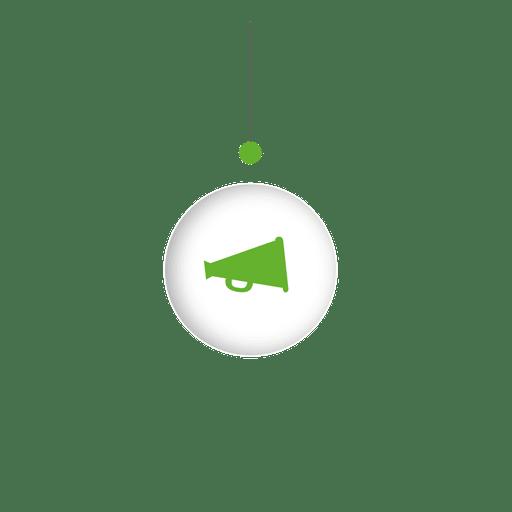 Megáfono colgando esfera infografía Transparent PNG